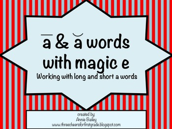 Short A and Long A with Magic E Word Study Sort and Activities