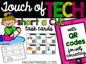 Short A cvc Task Cards with QR Codes for Self-Correcting