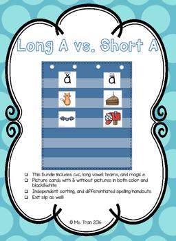 Short A vs. Long A - Picture Sort (Color & BW) - 5 Days!