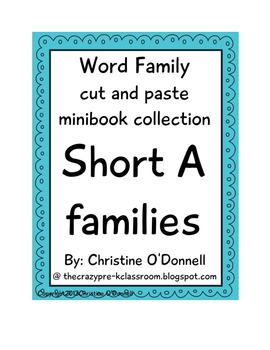 Short A word family minibooks: 10 books, cut & paste, word work
