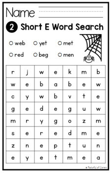 CVC Words Worksheets / Word Searches
