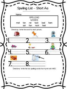 Short Aa Spelling List and Activities