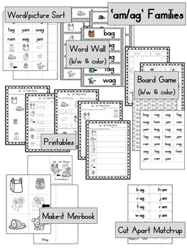 Short Aa Word Work, Games and Printables