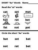 "Short ""Aa"" Words Reading Sheet"