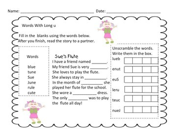 Short And Long Vowels Fill In The Blanks Phonics