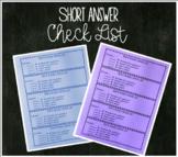 Short Answer Checklist