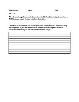 Short Answer Question-Jamestown Settlement