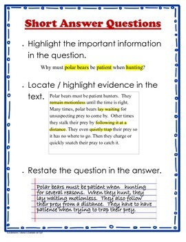 Short Answer Questions Anchor Chart
