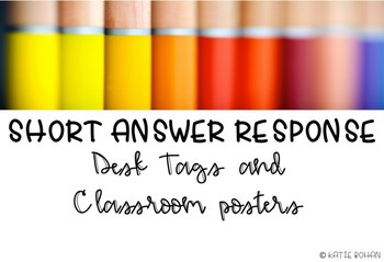 Short Answer Response Desk Tags and Posters