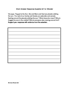 Short Answer Response Questions for the Novel Wonder by R.J. Palacio