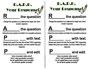 Short Answer Response R.A.P.P student handout