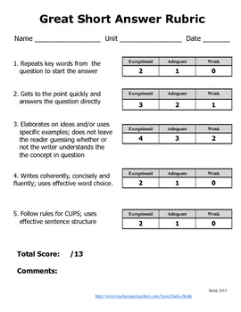 Short Answer Responses: Explicit Instruction in Writing Strategies
