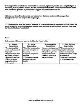 Short Answer Test for The Heart of Darkness--With Rubric and Study Guide