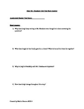 Short Answer for Dear Mr. Henshaw Unit Test
