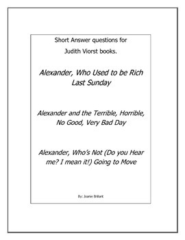 Short Answer questions for Alexander books by Judith Viorst