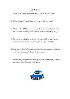 Short Car Park Survey and Questions based on makes of Cars