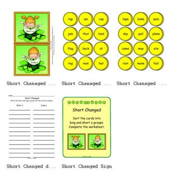 Short Changed  (St. Patrick's Day) (Sorting short and long a)