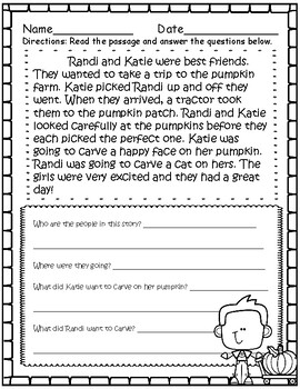 Short Comprehension Stories for Fall