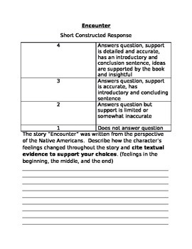 Short Constructed Response to use with the story, Encounter