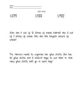 Short Daily Math Review
