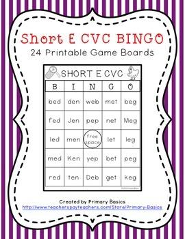 Short E CVC BINGO