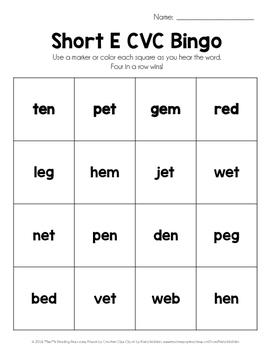 Short E CVC Bingo Set