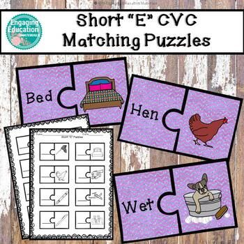 "Short ""E"" CVC Puzzles & Recording Sheet"