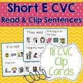 Short E CVC Sentences Read & Clip Cards