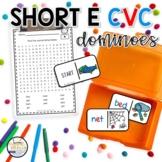 Short E CVC Domino Phonics Activity for Literacy Centers