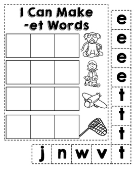 Short E CVC Word Family Building and Sentence Writing
