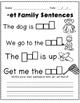 Short E CVC Word Family Building and Sentence Writing