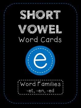 Short E CVC Word Family Cards