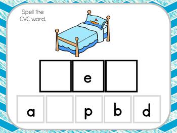 Short E CVC Word Spelling Interactive Digital Task Cards (Boom! Deck)