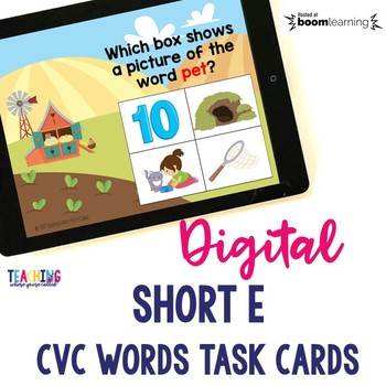 Short E CVC Words Digital Cards