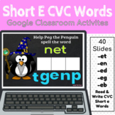 Short E CVC Words Google Classroom Activities