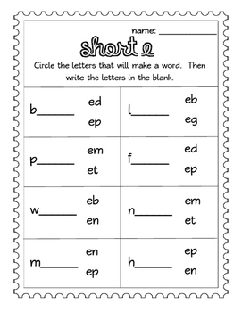 Short E CVC words: Worksheets- Spinner, Roll and Read, Practice Sheet