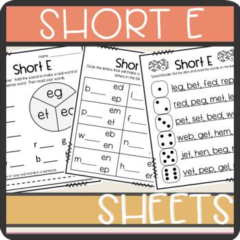 Short E CVC words: Worksheets- Spinner, Roll and Read, Pra