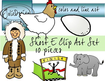 Short E Clip Art Set - Color and Line Art 10 pc set