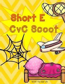 Short E CvC SCOOT Game- 16 CvC Word Cards PLUS 4 different recording sheets