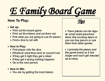 Short E Family Board Game