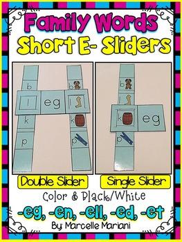 Short E- Family Words- Single & Double Sliders (ED, EG, EL