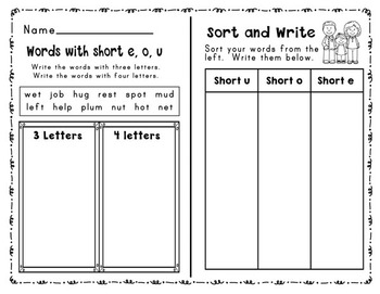 Short E, O, and U Word Sorts and Word Work Activities: Print and Go!