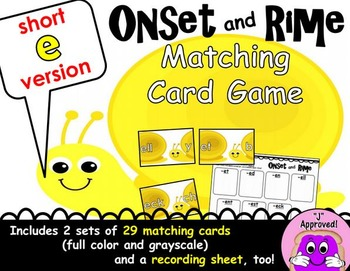 Short E Onset and Rime Matching Game