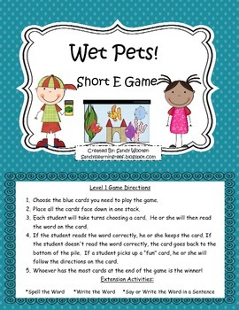 Short E Pet Shop Differentiated Short E Word Family Games, Activities, and More!