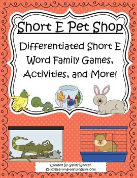 Short E Pet Shop Differentiated Short E Word Family Games,