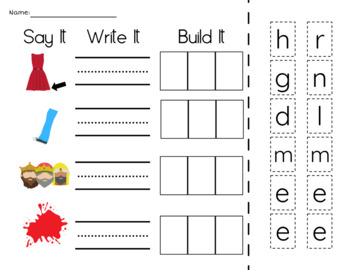 Short E Phonics Activities with CVC Words