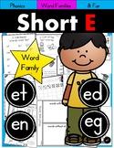 Short E Phonics Practice Printables for Word Families (et, en, ed, eg)
