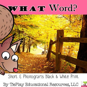 Autumn Short E Phonograms Reading Skills Activity in Black and White Print