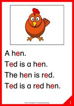 Short E Vowel Reader & Worksheet & Flashcards: Ted the Hen