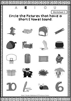 Short E Vowel Reader & Worksheet & Flashcards: Ted the Hen